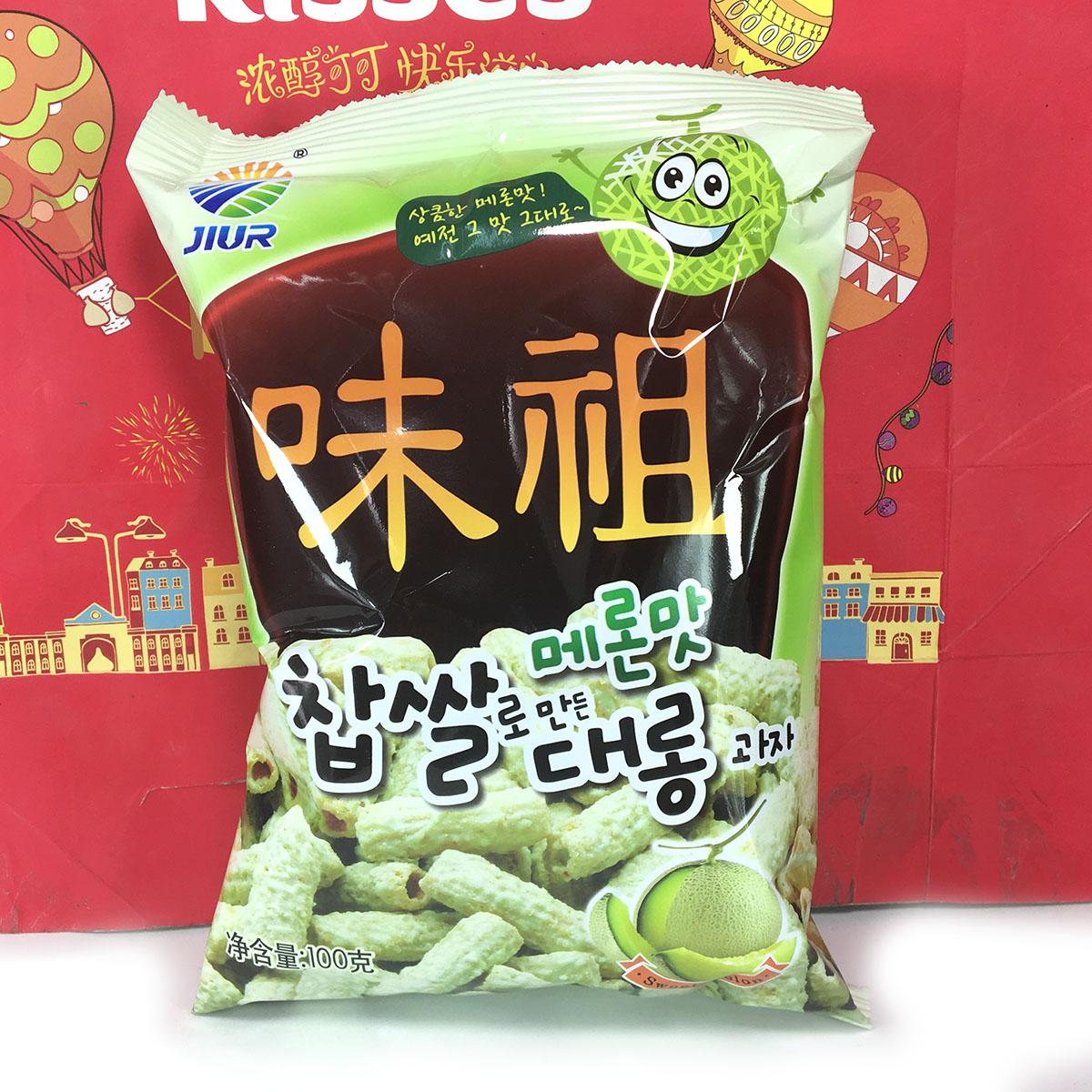 韩国进口九日牌哈密瓜味糯米脆条(膨化食品)100克休闲零食特价