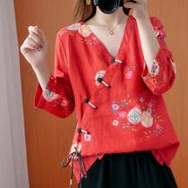 春季大码女装雪纺复古盘扣上衣长袖印花中式斜襟系带亚麻宽松衬衫