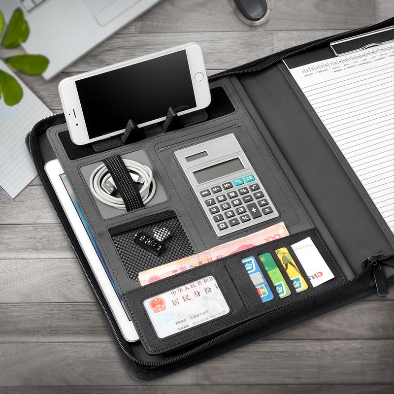 A4多功能文件夹带计算器皮质销售经理夹放合同活页夹商务文件夹板