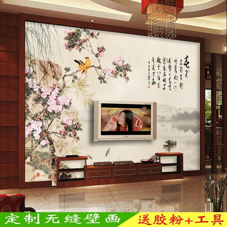 中式江南水乡海棠水墨山水墙纸 书房茶室客厅电视背景墙壁纸壁画