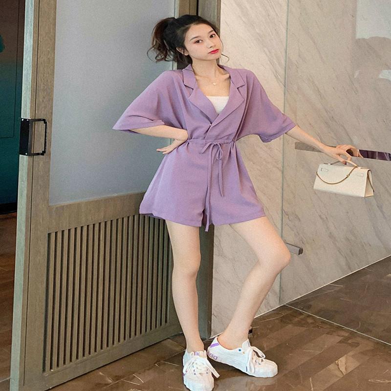 One piece pants womens summer wear 2020 new Korean version loose drop feeling high waist show thin versatile waist Jumpsuit wide leg shorts