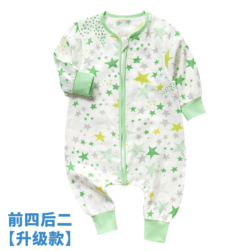 Childrens gauze sleeping bag baby pure cotton thin spring and autumn summer thick back thin anti kicking baby one-piece pajamas