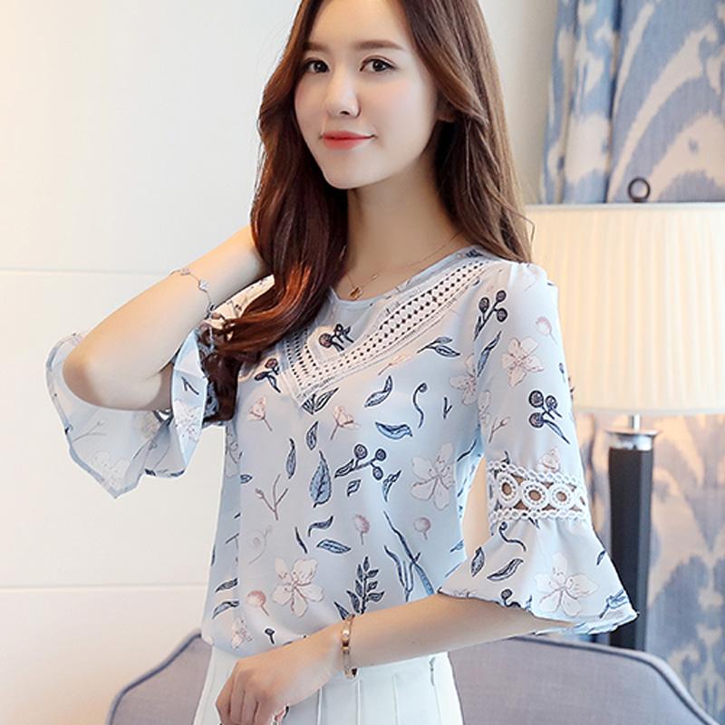 碎花短袖雪纺衫女装宽松上衣2021夏季新款半袖韩版小清新甜美小衫