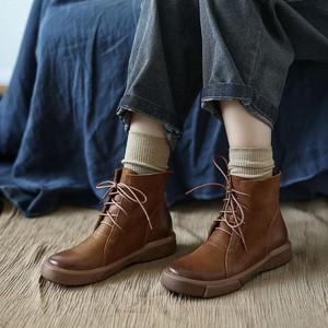 马丁靴女秋冬季新款平底头层牛皮森系百搭复古文艺短低筒靴女单鞋