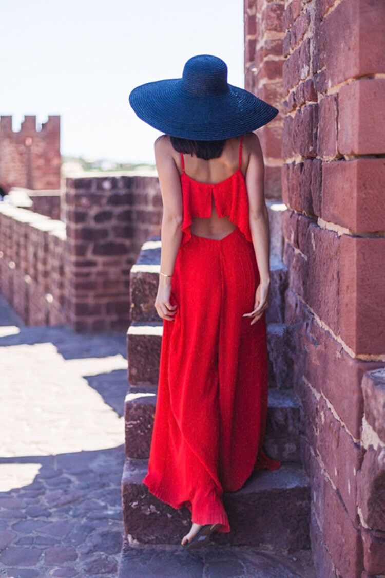 Moyan womens summer seaside resort style Siamese beach Romper skirt Chiffon Bohemian wide leg sling suit