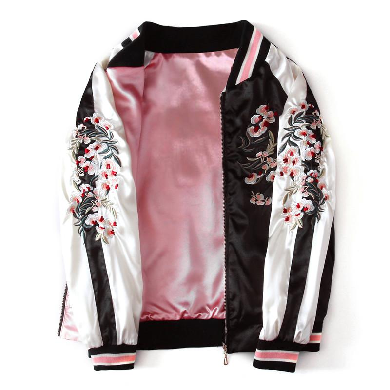 两面穿学生春秋长袖短外套bf刺绣绸缎棒球服女装宽松韩版绣花夹克