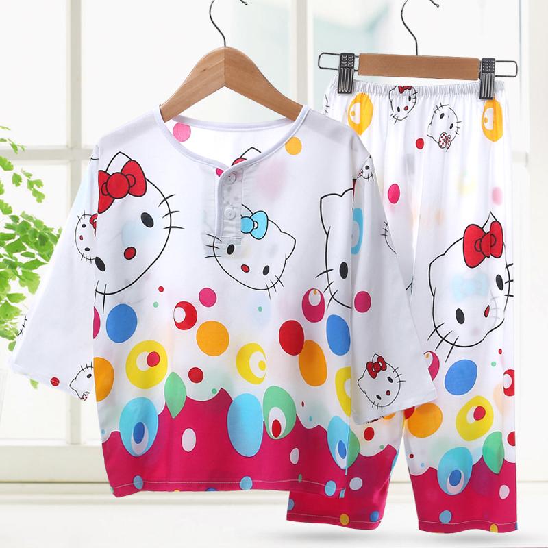 夏季儿童睡衣绵绸男童女童宝宝男孩纯棉绸空调家居服夏天薄款套装