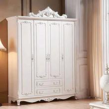 欧式衣柜卧室三门四门五门组合装经济型推拉门实木白色大衣橱家用