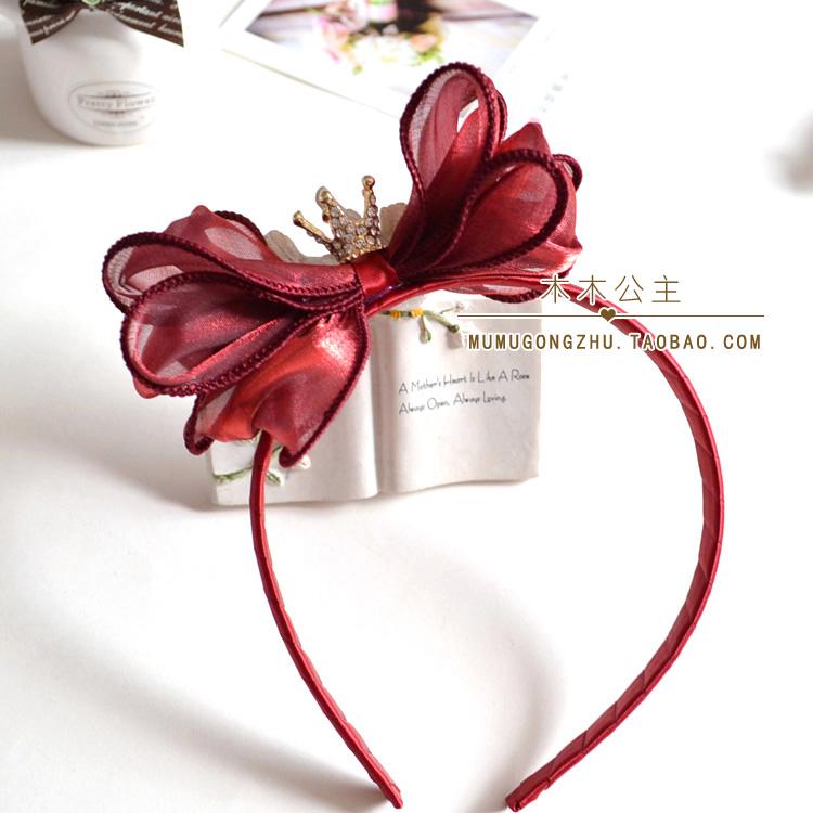 11.50元包邮摄影新年酒红色皇冠女童宝宝头箍