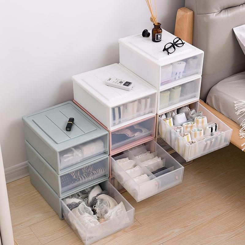 抽屉式内衣收纳盒分格整理箱装袜子文胸短裤收纳柜储物柜塑料家用