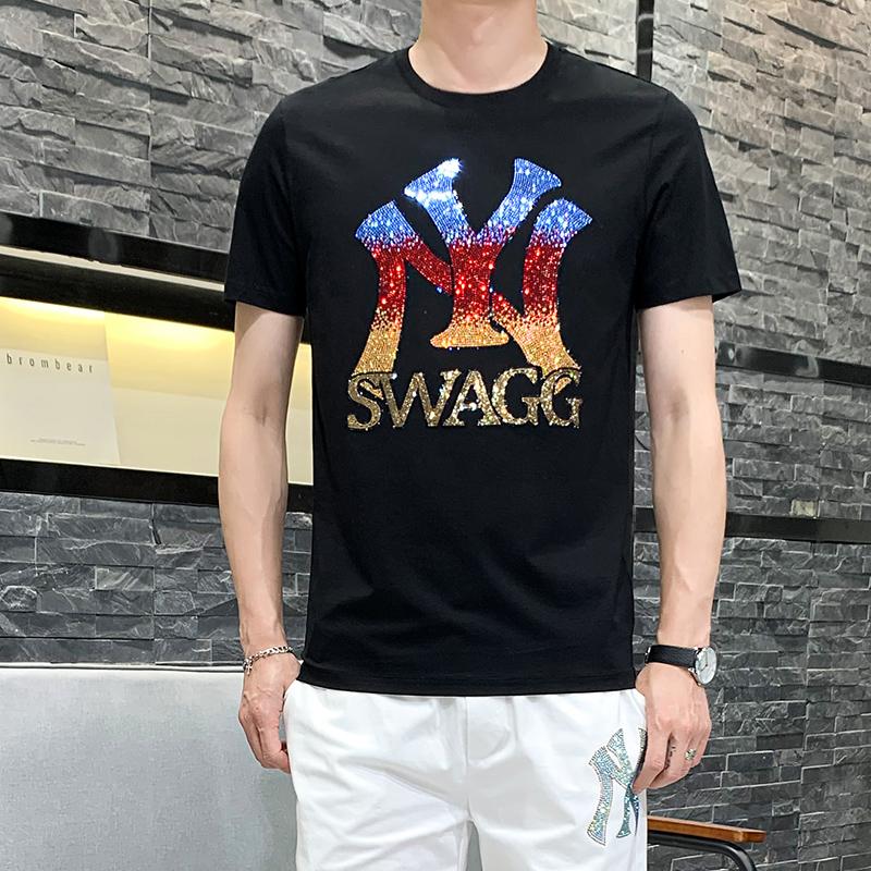 欧洲站烫钻T恤男短袖2020夏新款潮牌欧美时尚男士丝光棉圆领半袖
