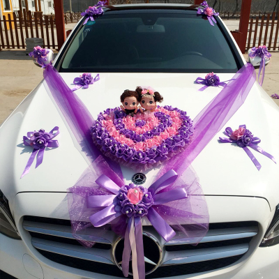婚车装饰套装用品拉花婚礼婚庆结婚韩式主副婚车仿真花车头花吸盘