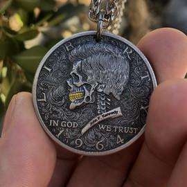 小号美国肯尼迪24K金牙骷髅头流浪者朋克艺术硬币项链坠DIY纪念币