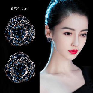 藍色玫瑰耳釘純銀韓國女藍寶石氣質耳環簡約個性學生耳飾清新可愛