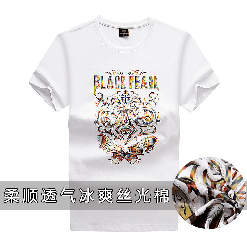 Summer 2020 new mercerized cotton T-shirt heavy industry hot drill fashion printed round neck cotton top half sleeve T-shirt