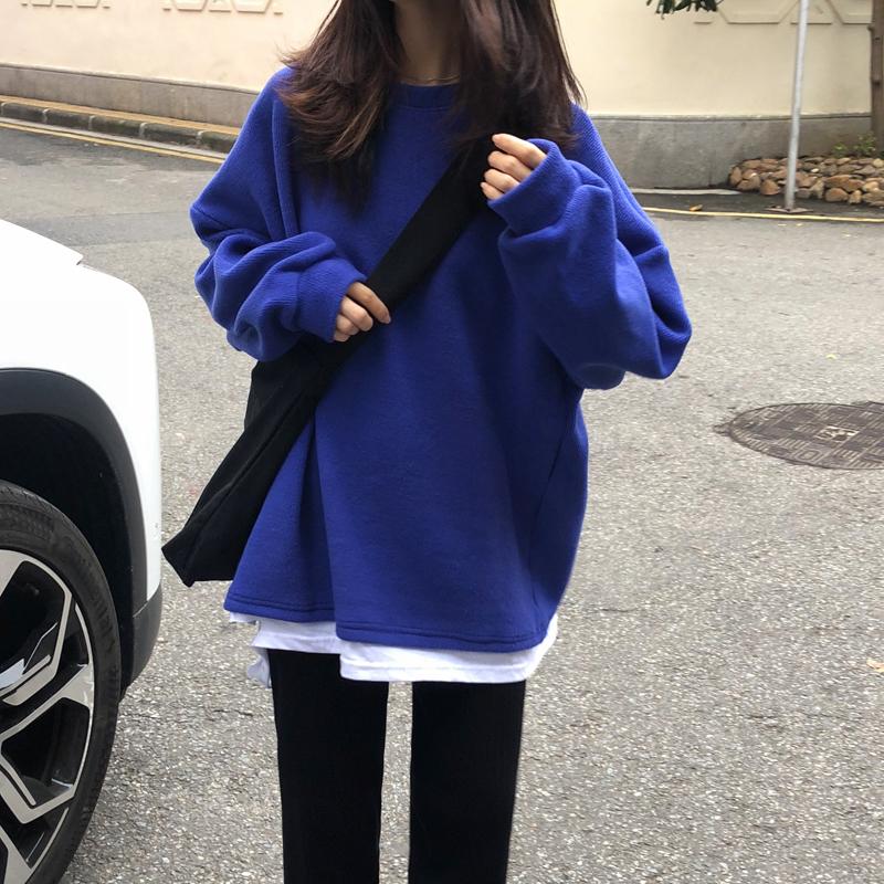 ins超火卫衣女春秋ulzzang假两件薄款外套韩版潮学生宽松上衣服图片