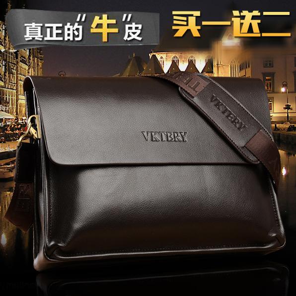 Leather Mens bag horizontal business cowhide document soft leather mens shoulder bag youth pendant trend backpack messenger bag