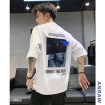 2020新款夏季5五分袖t恤男短袖韩版宽松半袖ins潮牌7七分袖上衣服