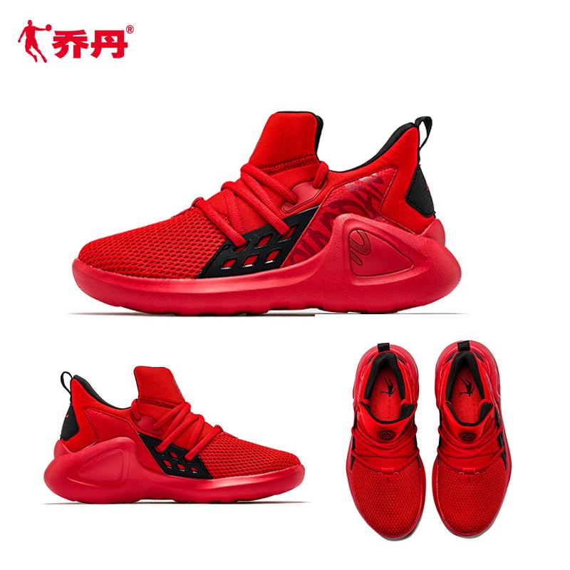 夏季透气网面中大童篮球鞋儿童男童运动鞋大红色2019乔丹童鞋全红