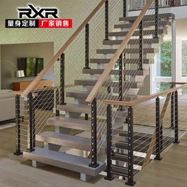 RXR室内复式双梁厂家直销定做钢木整体实木踏步护栏扶手阁楼楼梯