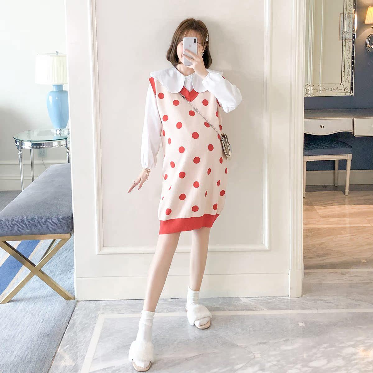 11-06新券孕妇装2019秋装新款时尚套装娃娃衬衫针织背心裙网红款两件套秋款