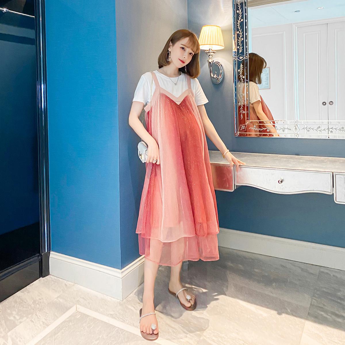 婕米家孕妇装夏装网红洋气潮妈亮晶晶网纱夏天连衣裙子套装两件套