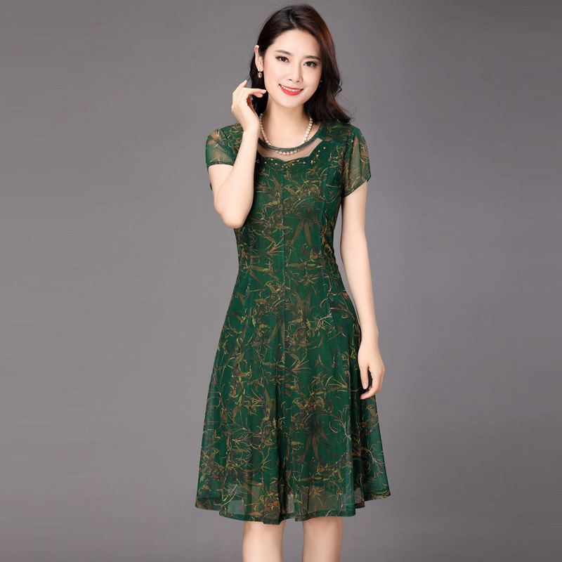 Summer silk short sleeve middle aged noble mother slim size 40 years old 60 womens discount clearance brand dress