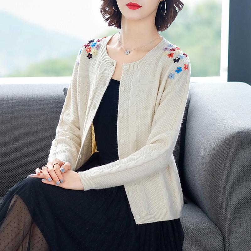 Cashmere cardigan 2021 fashion short long sleeve hook flower versatile shawl coat