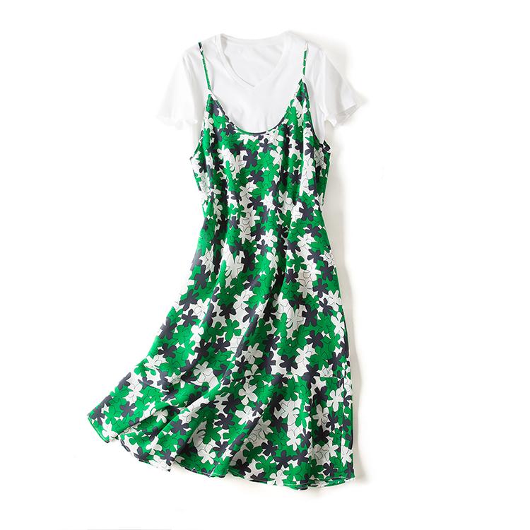 2018夏季新款 19姆米真丝 绿野无垠印花V领荷叶摆吊带连衣裙