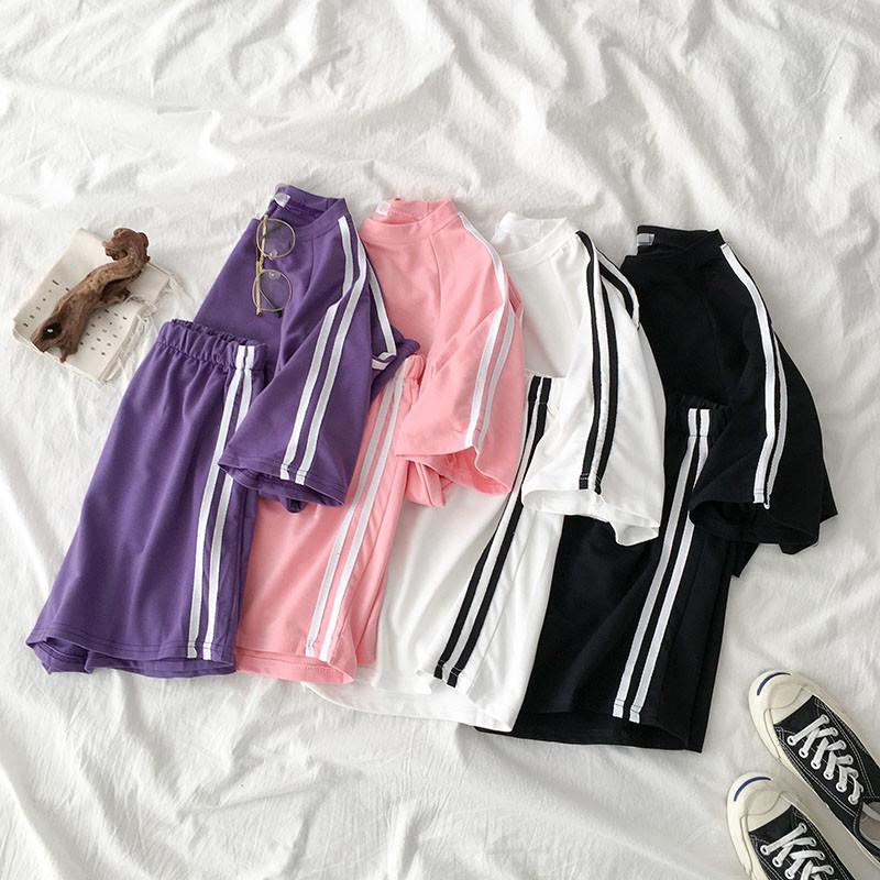 2020夏日清凉套装女短袖T恤+短裤学生原宿闺蜜跑步运动休闲两件套