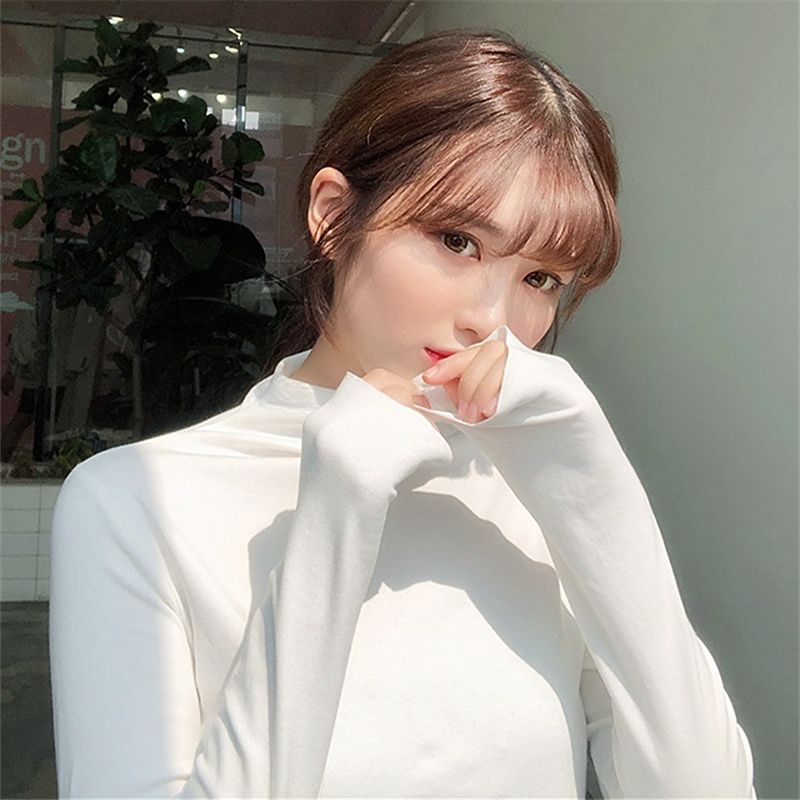 T-shirt womens long sleeve white top with foreign style and half high collar Plush bottomed shirt womens autumn and winter 2018 new trend