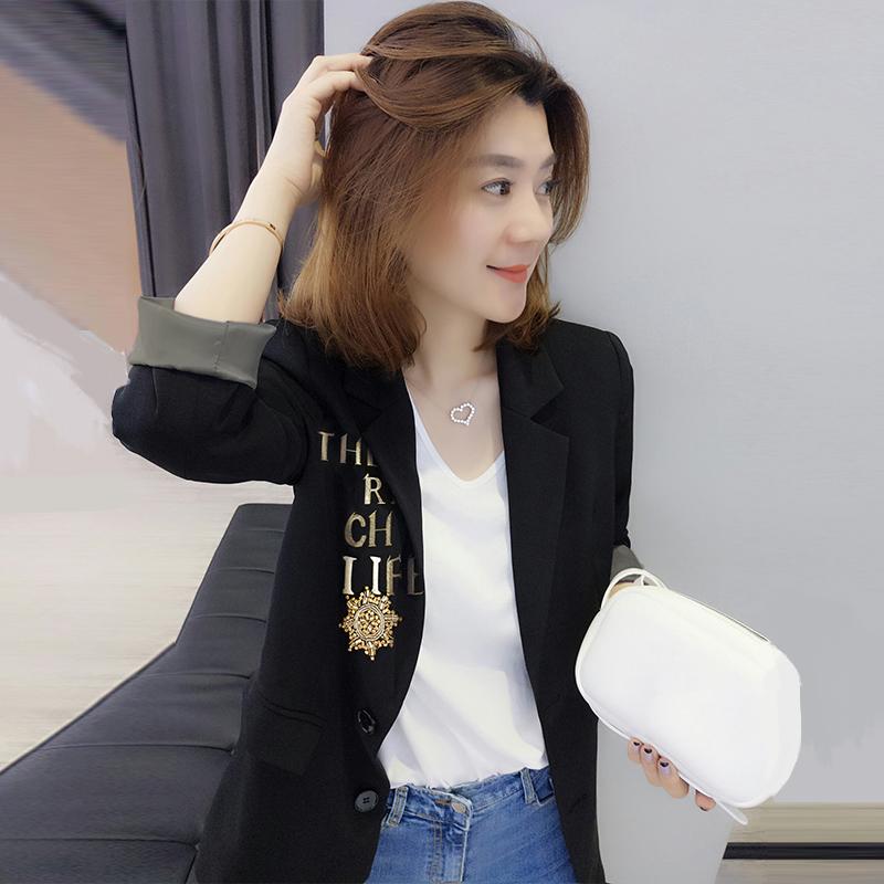 欧洲站春秋装女2020新款欧货韩版时尚黑色职业网红小西装chic外套