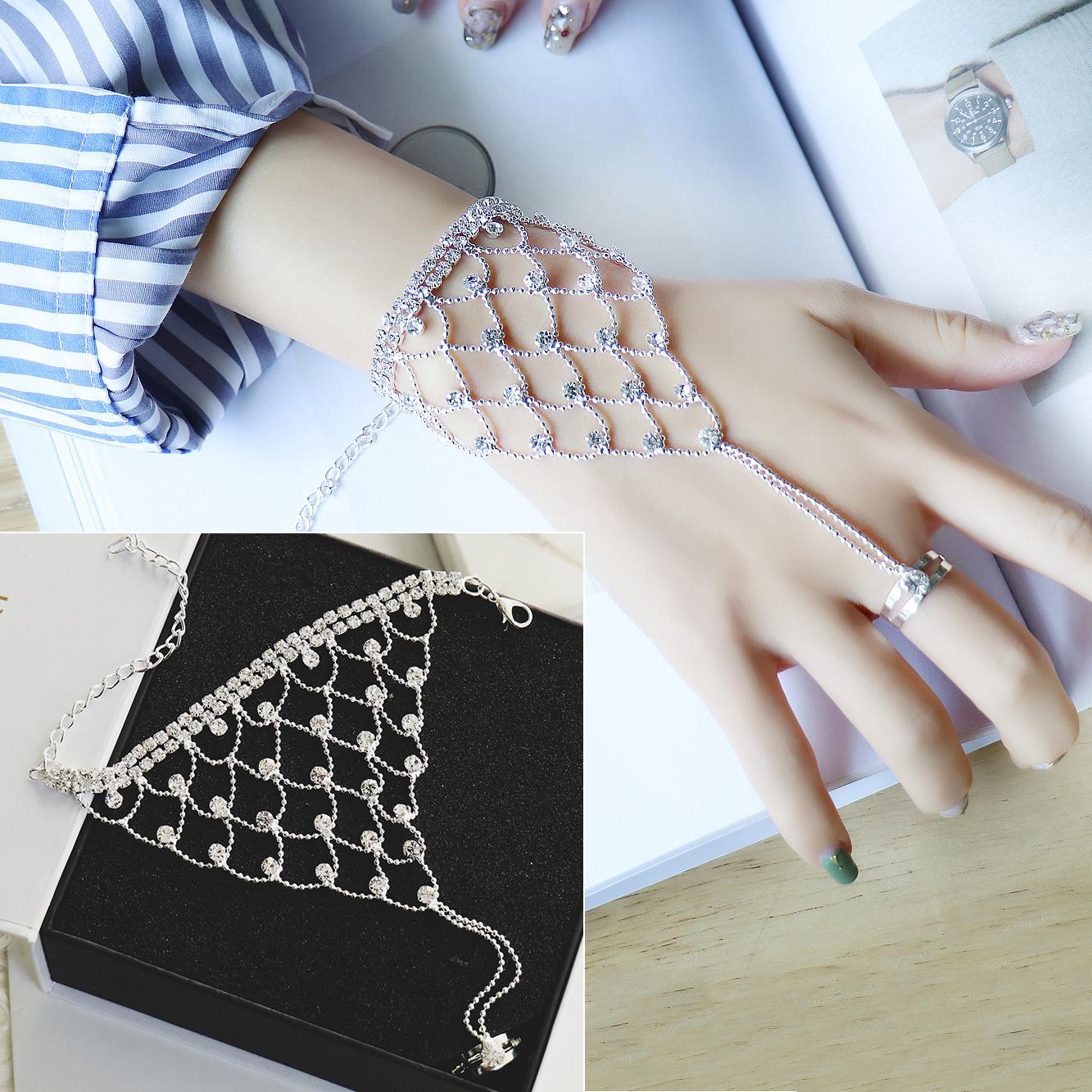 韩国水晶钻连一体手背链手链女戒指