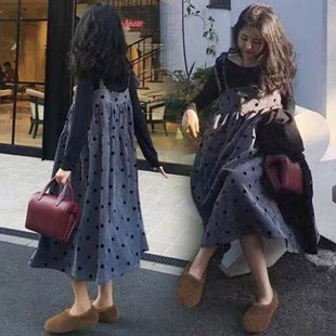 2019新款孕妇秋装时尚款孕妇装宽松连衣裙中长款两件套套装裙子秋