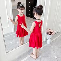 女童连衣裙夏装2021新款中大儿童背心裙夏季小女孩网红公主裙洋气