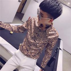 2019春装新款社会小伙修身长袖衬衣豹纹衬衫(黄) 502-CS74-P60