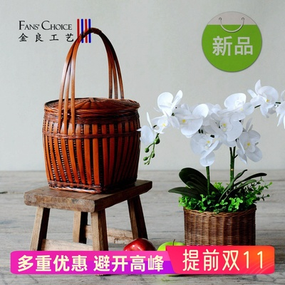 Hand-held bamboo basket with lid bamboo basket retro fruit basket bamboo woven egg basket traditional household bamboo products
