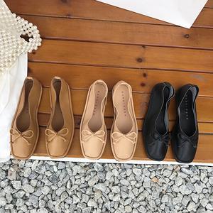 一件代发 2020新款韩国东大门糖果色软皮方头浅口平底软底单鞋