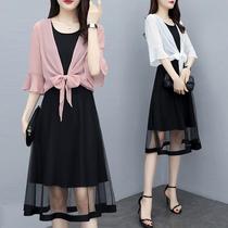 两件套雪纺时尚披肩+连衣裙显瘦2019新款夏季套装遮肚大码女装