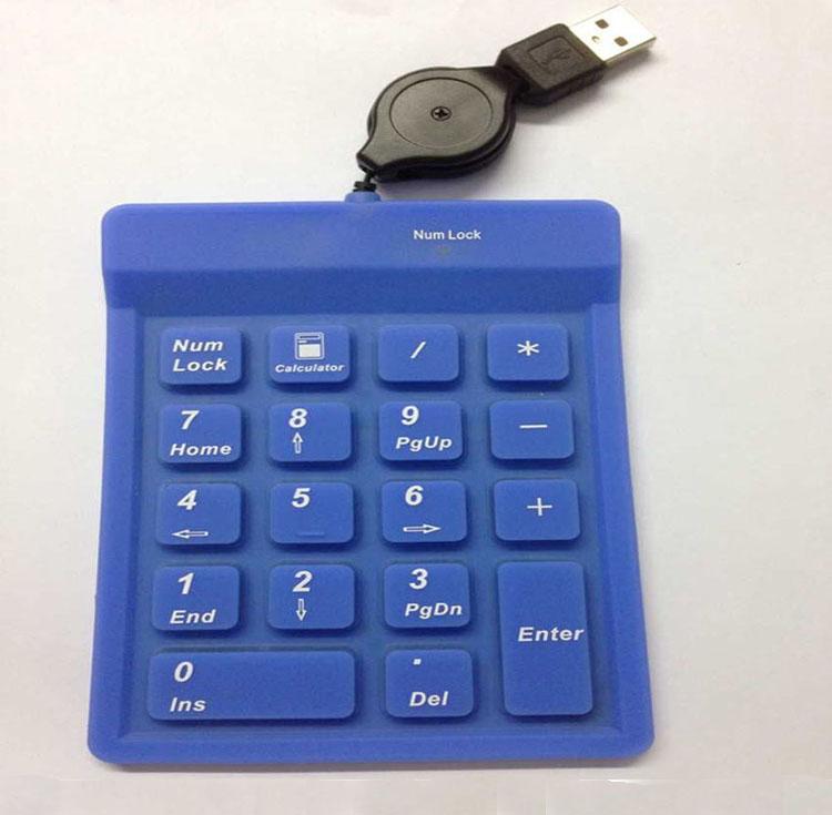 促销防水硅胶USB数字小键盘会计办工专用笔记本外置可申缩USB线