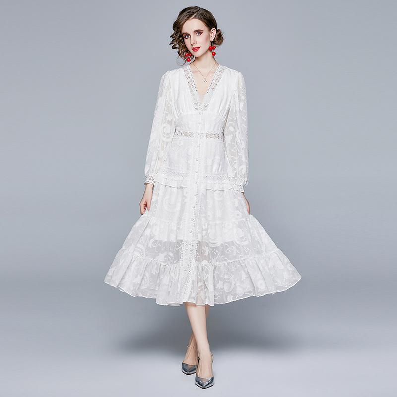 实拍现货2021春新款御姐女神范连衣裙质轻奢名媛轻熟长袖显瘦裙子