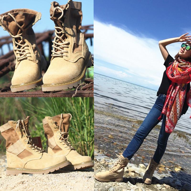 На открытом воздухе обувь женская только шаг обувь casual женщина натуральная кожа восхождение обувной мужчина высокий пустыня ботинок мартин сапоги водонепроницаемый плюс бархат армия ботинок