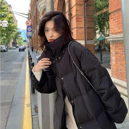 【胡楚靓 富士山下】2020年冬新款韩版宽松黑色90羽绒服女中长款