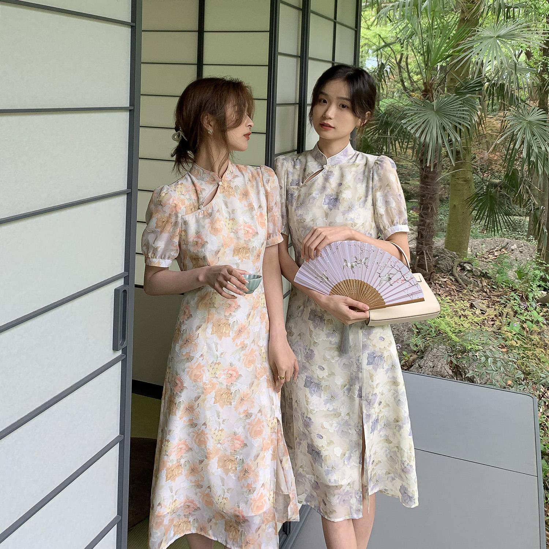 【司藤小姐】2021年新款夏季旗袍改良年轻款中长款碎花连衣裙女