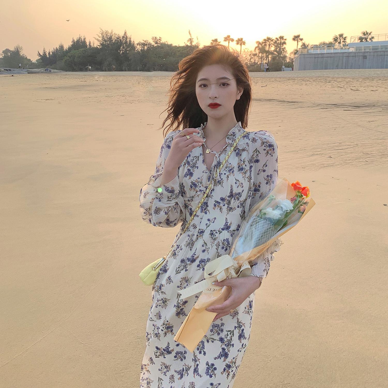 【胡楚靓浮生若梦】2021春夏新款碎花连衣裙女法式温柔雪纺吊带裙