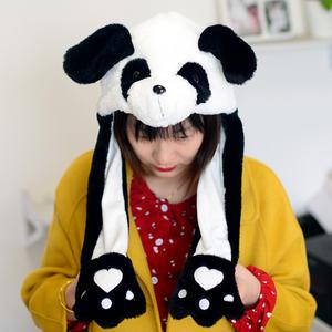 抖音同款可爱大熊猫帽子耳朵可动帽子海豚儿童熊猫毛绒玩具纪念品