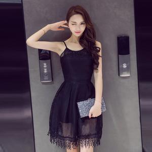 8356#實拍2019夏季韓版時尚性感蕾絲流蘇修身連衣裙打底中長裙