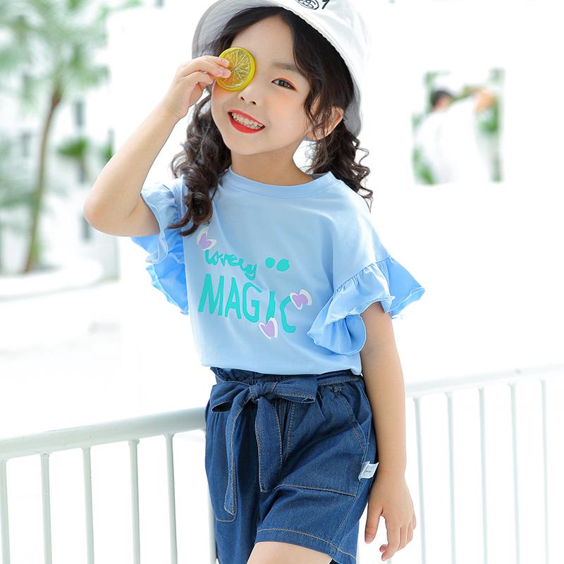 DK-852269E女童针织短袖单衫 DK-852210E女童牛仔短裤
