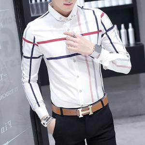 P55 2018秋款时尚男士休闲长袖衬衫衬衣男潮爆9209