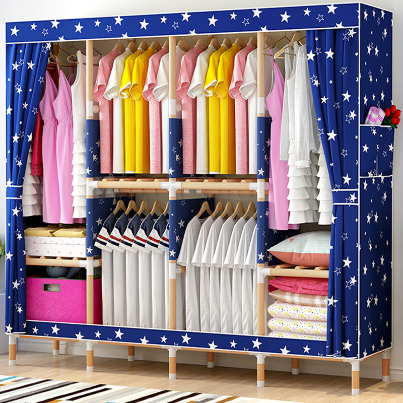 衣柜简易布衣柜家用实木质儿童布艺收纳柜子单人组装宿舍小挂衣橱